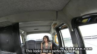 British lady gets creampie in cab