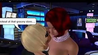 Redhead with big tits seduces guy in club