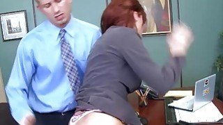 Britney Amber sucks Bill Baileys cock lying in her desk