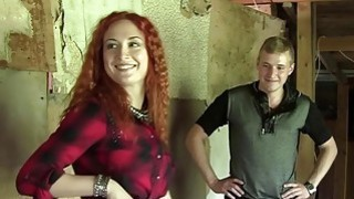 Stunning redhead girl picked up at a bus stop