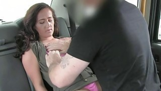 Lady in pink underwear gets fucked in the cab