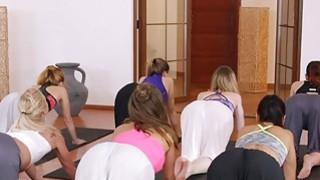 Yoga teacher bangs two babes in threesome