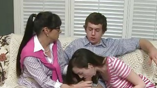 Cute teen shared her man with stepmom