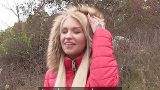 Money lover blonde bangs in public