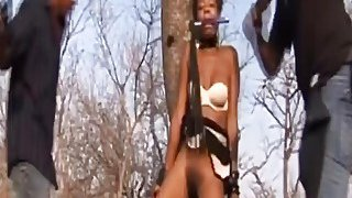 Horny African Slave Abused And Pounded Outdoors