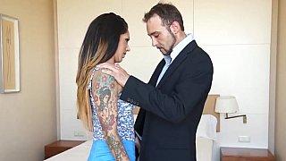 Submissive brunette