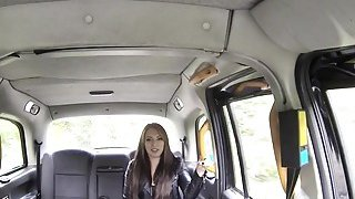 Brunette in fishnets anal bangs in cab