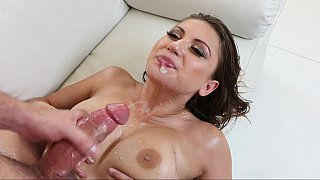 Oily maid gives a titjob