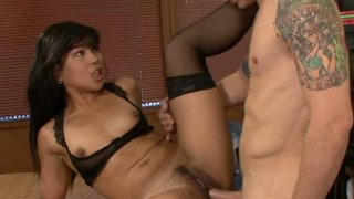 Asian slut Max Mikita gets her hairy pussy thrusted