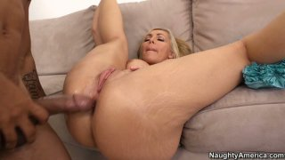 Black dude can't resist Lisa DeMarco and her busty body