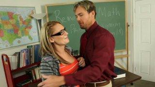 Nerdy girl Jordan Denae pleases teacher's cock