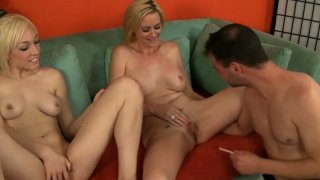 Two sultry chicks Camryn Cross and Lily LaBeau masturbate and seduce Ralph Long
