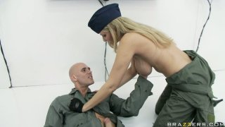 Military pilot Julia Ann is sucking her partner's hard cock