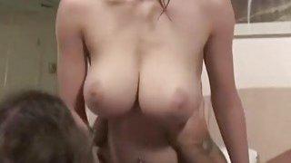 Dorky guy plows big breasted brunette like a true pro