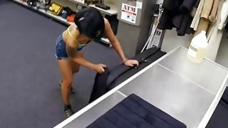 Asian babe gets pounded on massage table by pawn guy