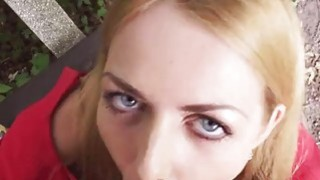 Eurobabe drilled in the park and facial