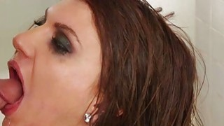 Teen brunette slut ball gagged and analyzed in the toilet