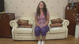 Tanned Euro girl fucked on a couch