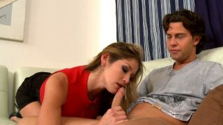 Green eyed blonde mommy pleases young dick