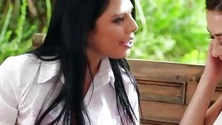 Bffs Gina Valentina and Melisse Moore licking in the garden