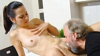Young babe enjoys old shlong in mouth and vagina